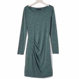 Banana Republic Long Sleeve Side Drape Green Dress